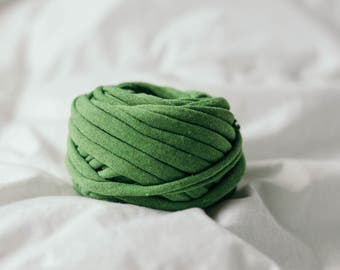 Heather Green Recycled T-Shirt Yarn