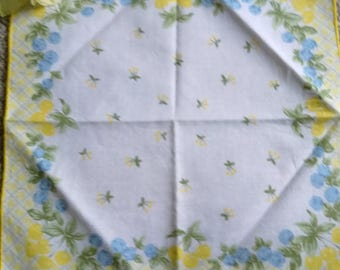 Vintage Cotton Ladies Handkerchief - Yellow & Blue