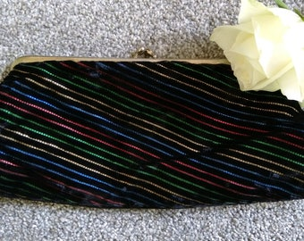 Vintage Black Velvet Striped Evening Purse/Clutch.  Ideal For Christmas/New Years Eve Party