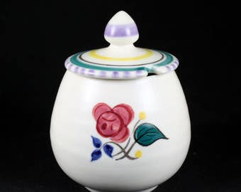 Vintage Stunning Poole Pottery England Preserve Mustard Jam Lidded Pot Hand Painted Floral  (A)