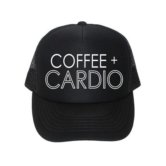 Coffee + Cardio, Womens Trucker Hat, Summer Baseball Cap, Gym Hat, Coffee Love, Fitness Fashion, Workout Gear, Activewear, Exercise, Runner