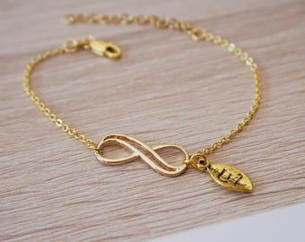 Infinite, gold-plated bracelet 18 k, infinity eternity initial bracelet design trend