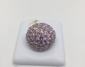 Sterling Silver Pink Ice Dome Ring