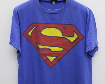 Vintage SUPERMAN Movie Marvel Cartoon DC Comics Blue Tee T Shirt Size L