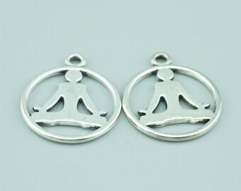 20pcs 23x20mm Antique Silver Yoga Charm Pendants ZD013