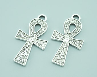 20pcs 37x21mm Antique Silver Cross Charm Pendants ZLJ031