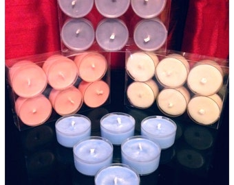 Pack Of 6 Handmade Soy Wax Tea Light Candles In Various Scents