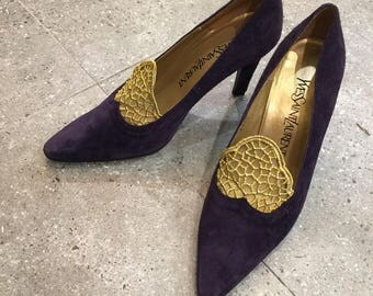 Vintage YSL Yves Saint Laurent Purple Suede With Gold Lace Pumps Heels, 80s Women Shoes