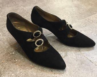 Vintage YSL Yves Saint Laurent Black Suede Pumps Heels With Stone Buckle, 80s Women Shoes