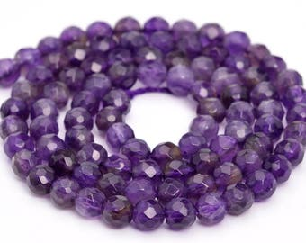 "4MM Faceted Amethyst Natural Gemstone Full Strand Round Loose Beads 15"" (100849-325)"