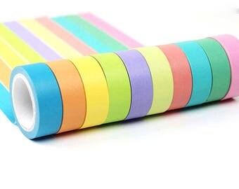 10pcs Decorative Rainbow Sticky Paper Masking Adhesive Tape Scrapbook