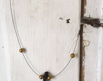 Minimalist necklace gold and wood