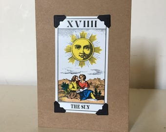 Greeting card made with vintage Tarot cards.