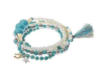 Multi Stranded Charm Bracelet with Turquoise Beads