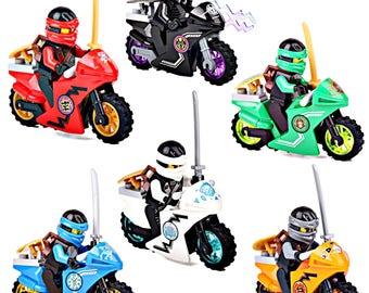 6 Ninjago figures 6 motor bike Lord GamadonZane Jay Lloyd Cole Kai