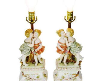 Pair of Vintage Arnart Porcelain Figural Lamps