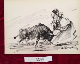 Original Bullfight Art by L. Reveles