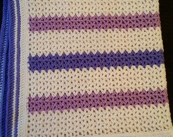 One of a kind baby blanket in purple, violet, and ivory