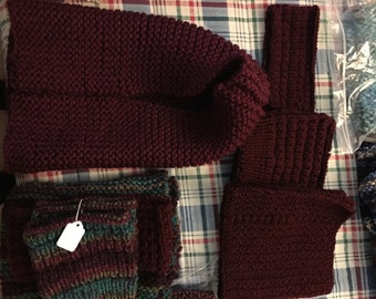 Hoodie, boot cuffs, scarf, and headband made to order