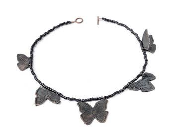 BLACK butterfly bonze and glass necklace