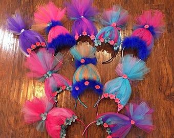 10 Trolls Headbands for girls and boys - Troll Headband - Troll Headbands -  Tulle Bow - Troll Bow - Headband - Troll Crown - Troll Party