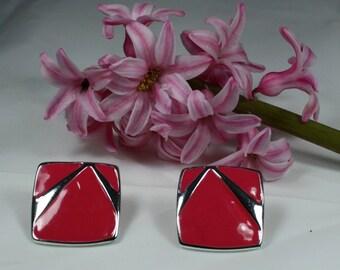 Pink and Silver Enamel Earrings