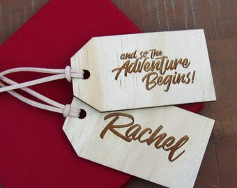LUGGAGE TAG PLACECARDS, personalised wooden name place cards for wedding, function, or dinner party