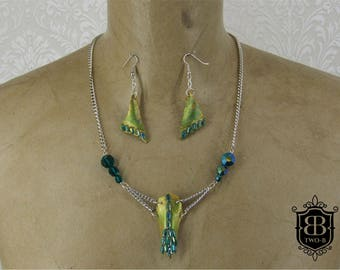 Jewellery set necklace earrings skull scull Green