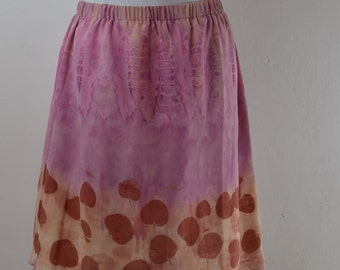 Dyed and printed silk skirt with natural colours