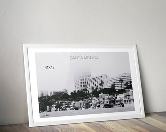 Santa Monica, California, Digital Art, Digital Download, Digital Print, Travel, Beach, Black & White, Photography, Wall Art, Beach Houses