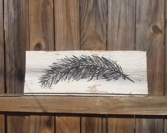 Painted Feather on white barn wood