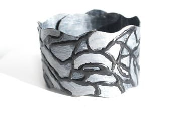 Cuff bracelet/ Bracelet cuff/  Eco Friendly jewelry. Silver and black unique free size cuff bracelet. Gift for her, Gift for women.