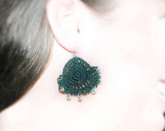 Dangle and drop earrings. Dangle earrings. Dark green crochet dangle and drop earrings with glass beads. Gift for her. Gift for women.