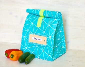 Lunch box, bread bag, turquoise, pattern, coated cotton