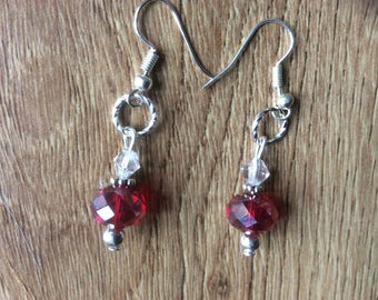 Red glass beaded dangle earrings