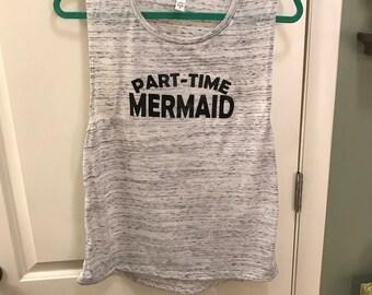 Part-Time Mermaid Grey Muscle Tank - tank top mermaid heathered gray part time