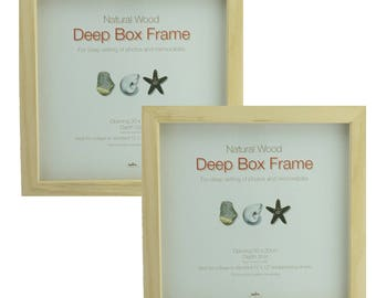 """A Pack of TWO  12"""" x 12"""" (305mm x 305mm) Natural Wood Box frames - 17mm clear space. Great for Crafting and Scrapbooking."""