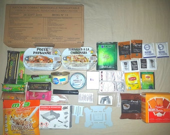 5 French individual combat ration pack army ,MRE, air soft, camping, fishing X5