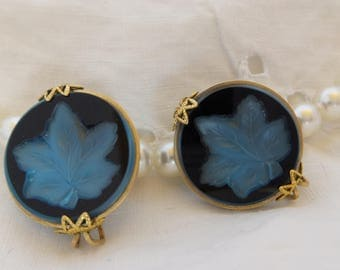 Vintage Blue Maple Leaf Slide On Earrings