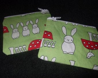Cute home made Bunny coin purses 100% cotton