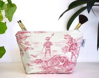 Red French Toile de Jouy makeup bag / cosmetics case / cosmetics bag / trousse de toilette