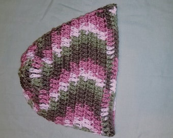 Pink and green crocheted beanie