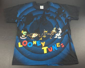 Vintage 90s looney tunes all over print t-shirt mens xl