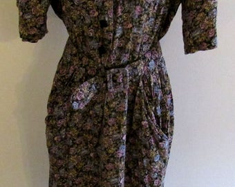 Vintage 80s ITEMS Womens Floral Dress