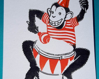 Drum roll - original linocut print postcard