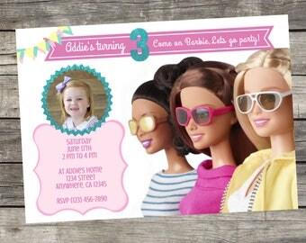 Personalized Barbie Birthday Invitation- Digital File only- DIY 5x7