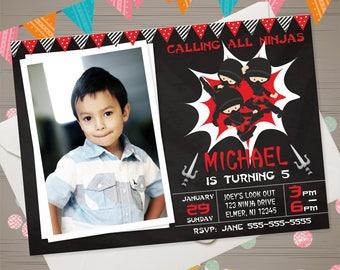 NINJA Birthday Invitation with PHOTO Ninja Invitation Ninja Birthday Party Boys Karate Invitations Ninja Chalkboard Invitation Printable