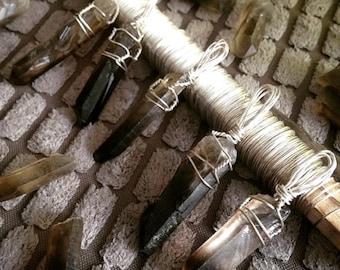 Smokey Quartz Wire Pendant in Silver