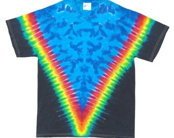 Tie Dye T-Shirt - V Rainbow Black