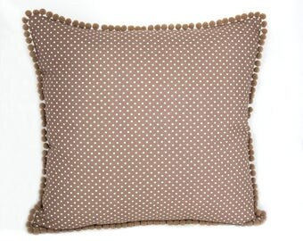 brown polka dot cushion cover, pom pom decorative pillow cover, brown and white dots 15 inch  square sofa pillow cover, brown trow pillow